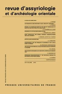 Abonnement Revue d'assyriologie et d'archéologie orientale