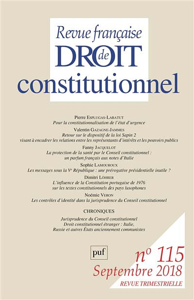 Abonnement Revue française de droit constitutionnel
