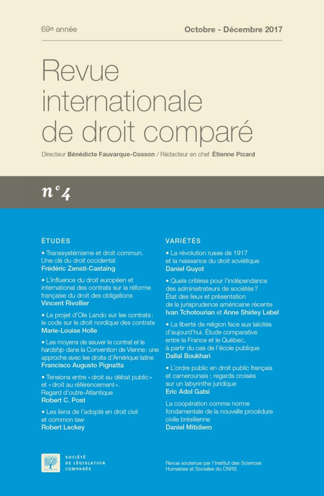 Abonnement Revue internationale de droit comparé